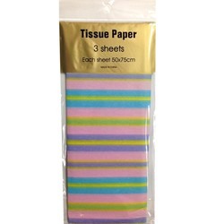 Tissue Paper Printed - 3 sheet - Multi Pastel Stripes