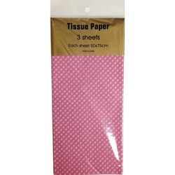 Tissue Paper Printed - 3 sheet - White Dots on Pink