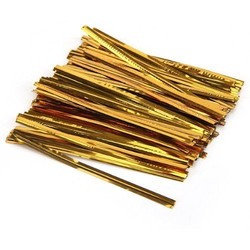"500 x 3"" / 8cm - Twist Tie - Metallic Copper Gold"