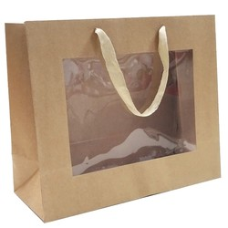 Window Gift Bag - Medium/Large Boutique Matt Finish - Kraft Brown