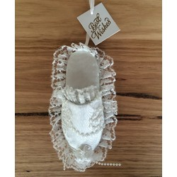 White Satin and Lace Wedding Slipper