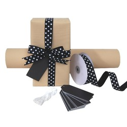 Pack Deal - Natural Stripe Wrapping Paper, Grosgrain Ribbons, and Gift Tags