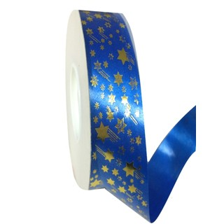 Printed Florist Tear Ribbon - 30mm x 45M - Blue with Gold Shooting Stars