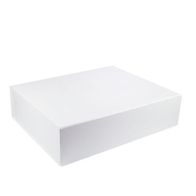 FAULTY - Large Hamper Gift Box - Faux Leather White with Magnetic Closing Lid