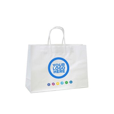 Custom Printed Kraft Bags - Small Boutique - White