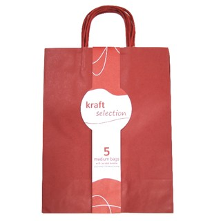 Medium Kraft Gift Bags - 5 Pack Red