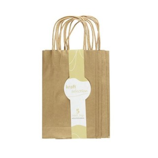 Small Kraft Gift Bags - 5 Pack Metallic Gold