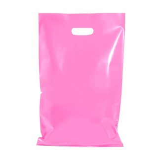 100 x Plastic Carry Bags Large With Die Cut Handle  - LDPE - Glossy Light Pink