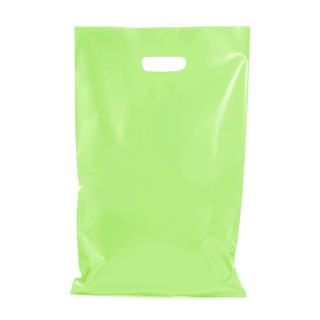 100 x Plastic Carry Bags Large With Die Cut Handle  - LDPE - Glossy Light Green