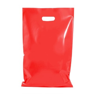 100 x Plastic Carry Bags Large With Die Cut Handle  - LDPE - Glossy Red