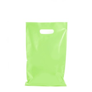100 x Plastic Carry Bags Small - Medium With Die Cut Handle  - LDPE - Light Green