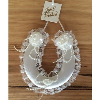 White Wedding Horse Shoe with Lace, Satin Roses and Beading.